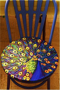 Peacock chair: Paintings Furniture, Peacock Chairs, Wall Murals, Diy Peacock Paintings, Vibrant Colors, Handpaint Chairs, Old Chairs, Paintings Chairs, Peacock Design