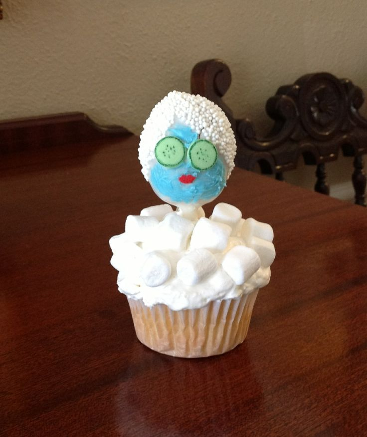 """This is the cake pop that I came up with for my daughter's 6th birthday party.  Obviously, a spa party, and each of these fully-edible little ladies are in their own """"bubble baths!"""""""