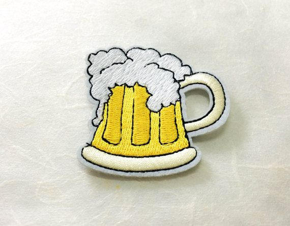 Beer Mug Iron on PatchM2  Frothy Beer Applique Embroidered