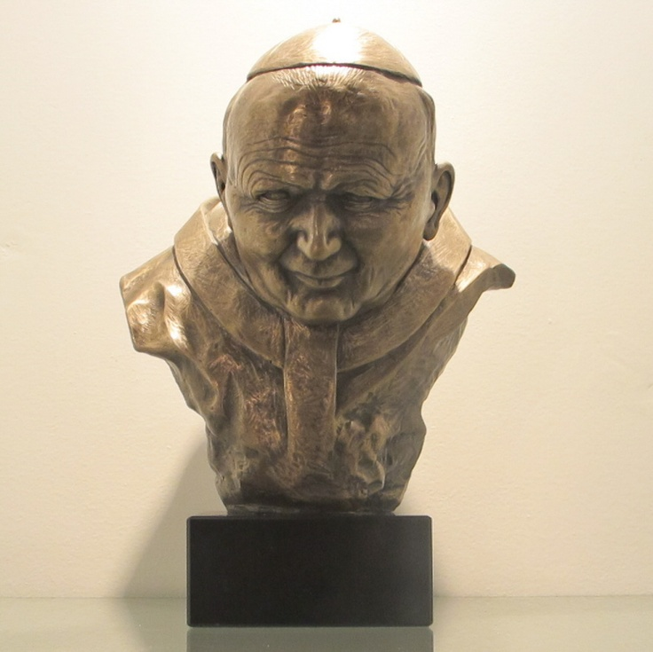 Bust of Pope John Paul II, made castelbronze, marble pedestal. One of a kind.