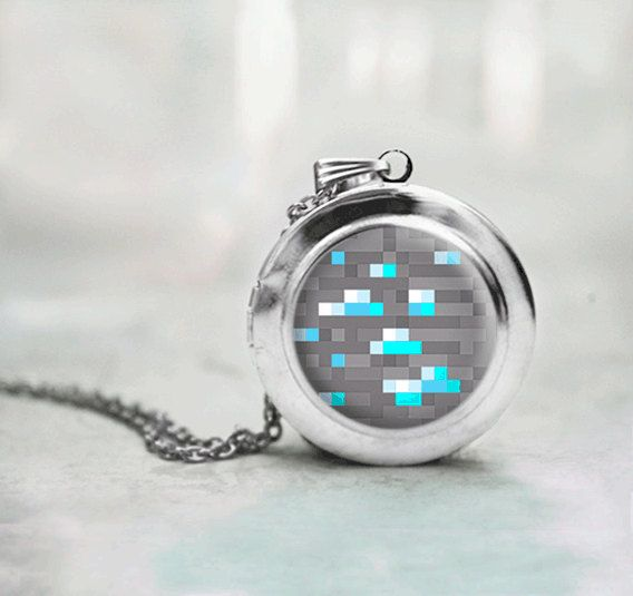 Minecraft Diamond Ore locket necklace by ThreeTwelveTrinkets, $18.00