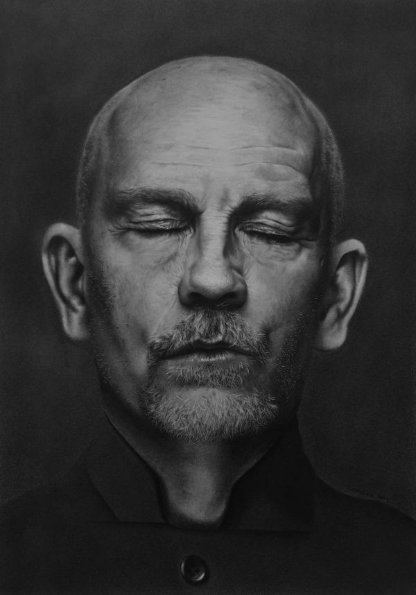 """John Malkovich by Patrick Swirc """"People get up, they go to work, they have their lives, but you'll never see the headlines say, 'Six billion people got along rather well today.' You'll have the headline about the 30 people who shot each other."""""""