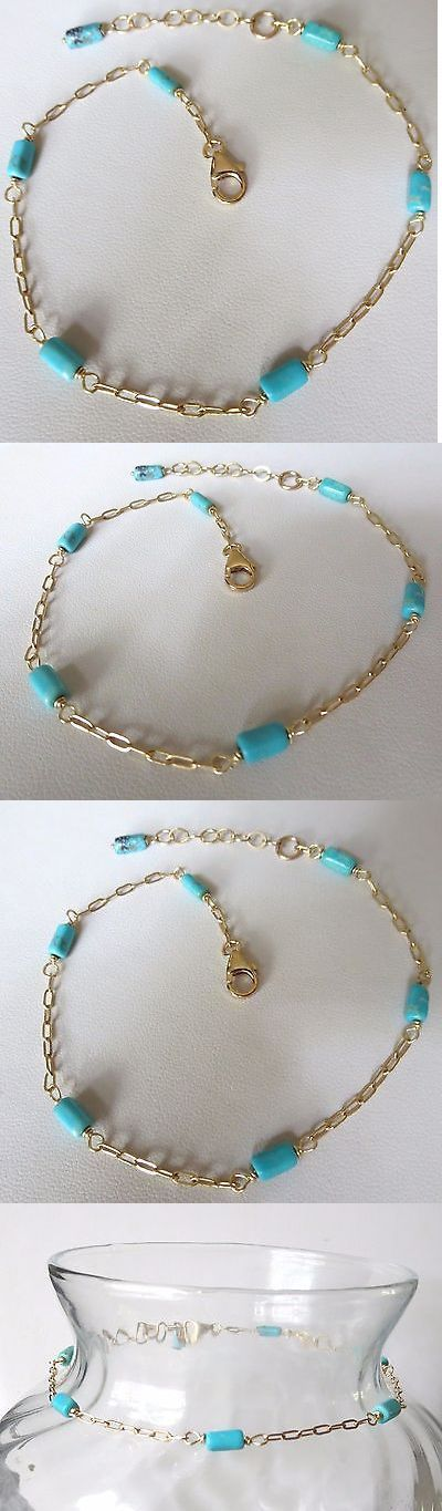 Anklets 110634: High Grade Genuine Turquoise 14K Gold Filled Ankle Bracelet -> BUY IT NOW ONLY: $51.99 on eBay!