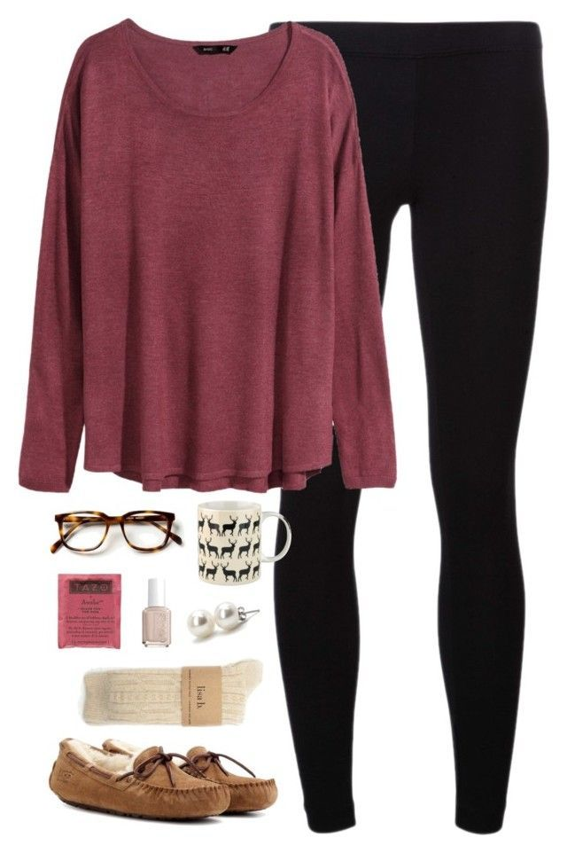 """""""sick day"""" by classically-preppy ❤ liked on Polyvore featuring James Perse, H&M, UGG Australia, Anorak, Essie and Bounkit"""