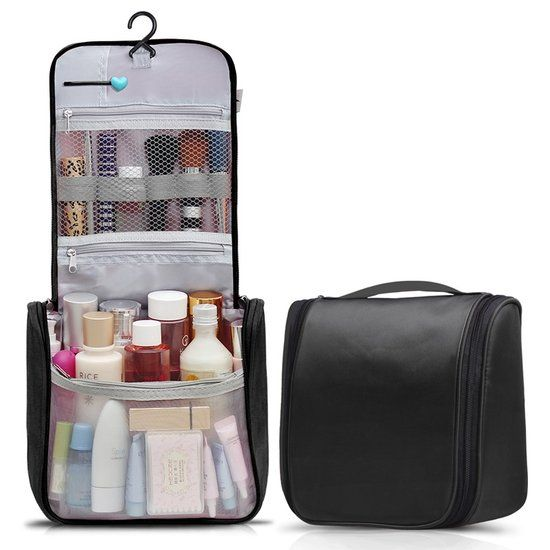 Reis Toilettas Hanging met Haak Travel Etui Organizer voor Toiletartikelen Kamperen & Reizen Accessoires – Toilet Bag voor Dames en Heren – Zwart