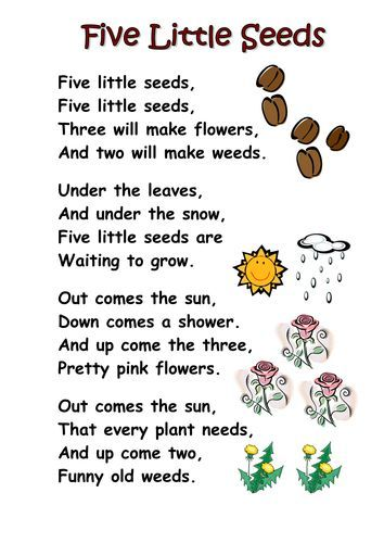 Themed poems - seeds and plants - Free! A selection of themed poems on the topic of seeds, growth, plants and planting. Perfect for kindergarten and first grade.: