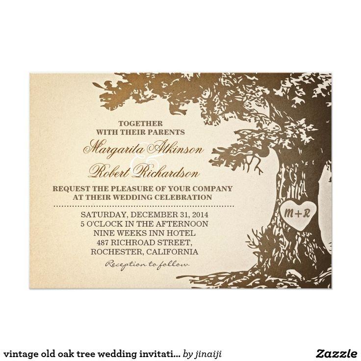 618 best elegant wedding invitations images on pinterest vintage old oak tree wedding invitations stopboris Choice Image