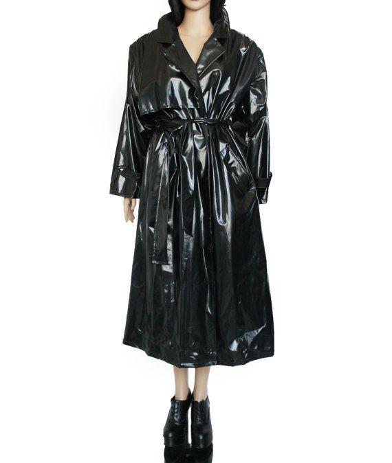 M L Black Vinyl Trench Coat Long Maxi Shiny Plastic Pvc