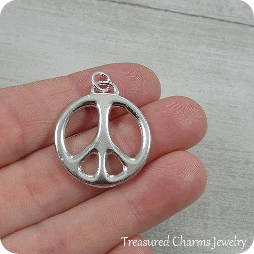 Large Peace Sign Charm Silver Plated Peace Symbol Charm For Necklace Or Bracelet Silver Small Jewelry Box Large Hole Beads