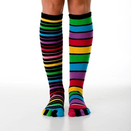 Ova the Rainbow Stripe Toe Socks LittleMissMatched...love!
