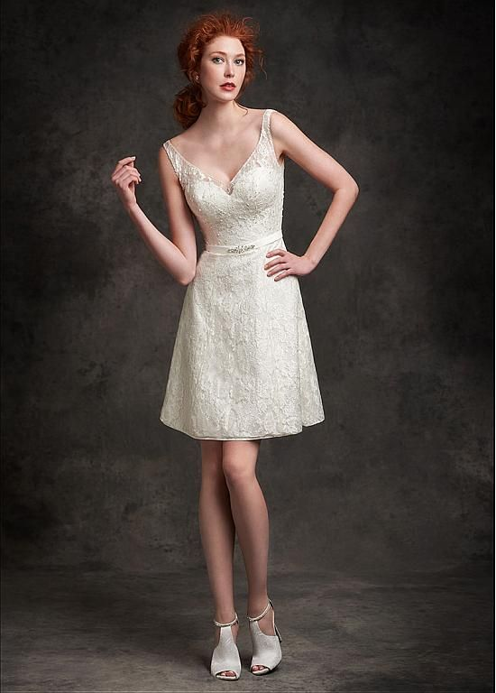 Graceful Lace V-neck Neckline A-line Wedding Dresses with Beadings & Rhinestones