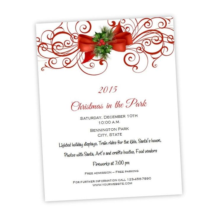 56 best Christmas Party Invitations images on Pinterest - free holiday flyer templates word