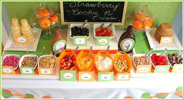 Ice Cream Party -- Toppings Bar. Cute idea!
