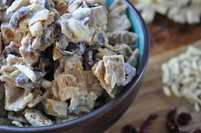 """christmas crack""  golden grahams cereal, dried cranberries, slivered almonds, white chocolate"
