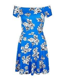Teens Blue Rose Print Bardot Neck Skater Dress  | New Look