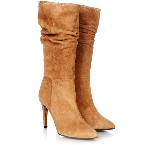 Gestuz Athalia Camel Suede Boot ($110) ❤ liked on Polyvore featuring shoes, boots, tan, pointed toe boots, stiletto boots, high heeled footwear, high heel boots and suede high heel boots
