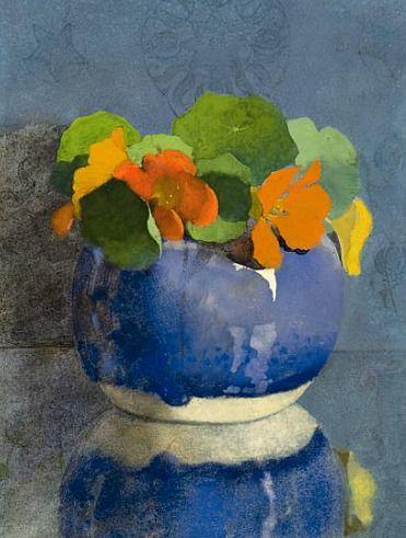 stilllifequickheart: Jan Voerman Sr. Nasturtiums in a Blue Ginger Jar 1935