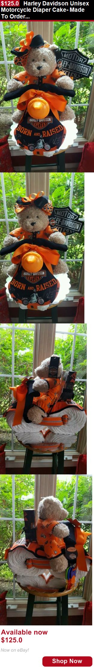 Baby Diaper Cakes: Harley Davidson Unisex Motorcycle Diaper Cake- Made To Order For A Girl Or Boy BUY IT NOW ONLY: $125.0