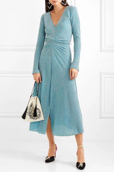 Stretch Gathered Midi Knit Metallic Dress A Net Rotate Porter wPEaE