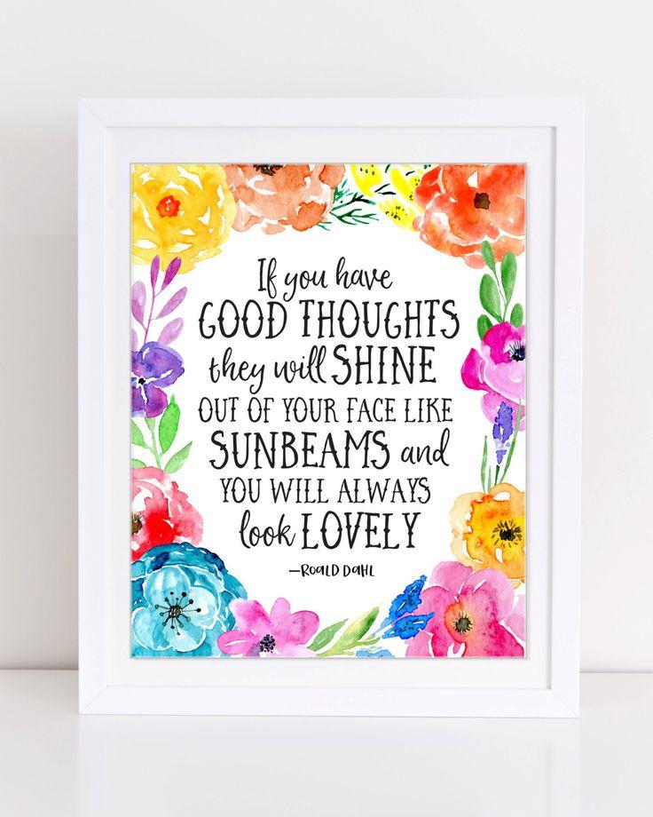 Sunbeams Quote, Roald Dahl Quote, The Twits, PRINTABLE Nursery Art, Kids Room Art, Girls Bedroom Art, Roald Dahl Wall Art, Floral Art by DuneStudio on Etsy