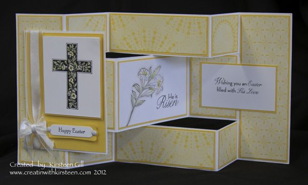 handmade Easter card and tutorial ... fancy fold ... crosses ... Stampin' Up!