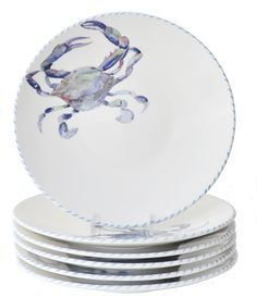 We are so excited to present these new Blue Crab Dinner Plates! Love love love!