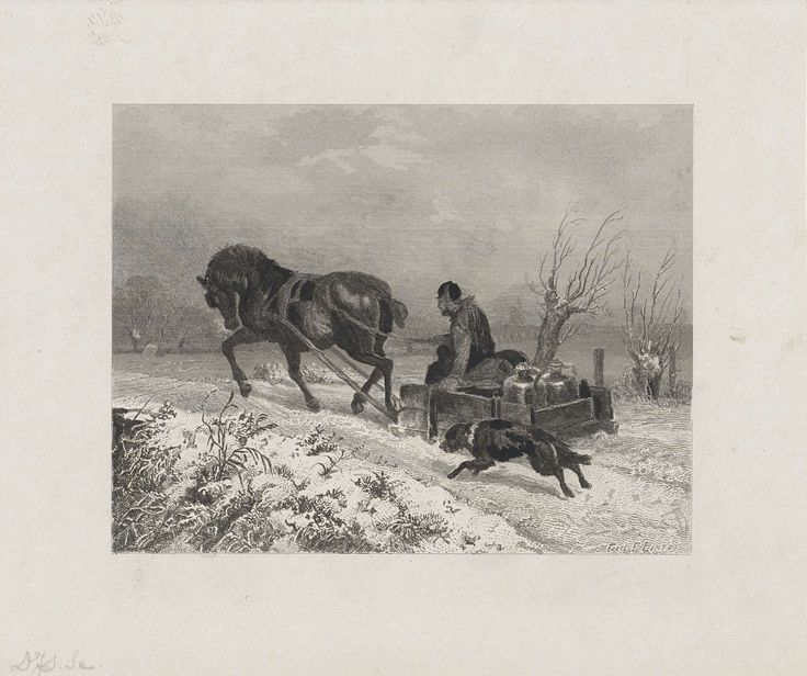 Dirk Jurriaan Sluyter | Paardenslee, Dirk Jurriaan Sluyter, 1826 - 1886 | Winterlandschap met een man in een door een paard getrokken slee. In de slee staan twee grote kruiken. Een hond rent achter de slee aan.