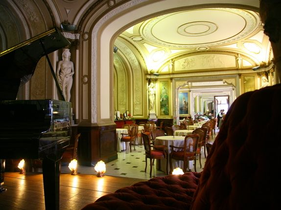 Gran Caffè Gambrinus in Naples. Interior. No surprise as to why it attracts royalty, artists, and celebrities alike.