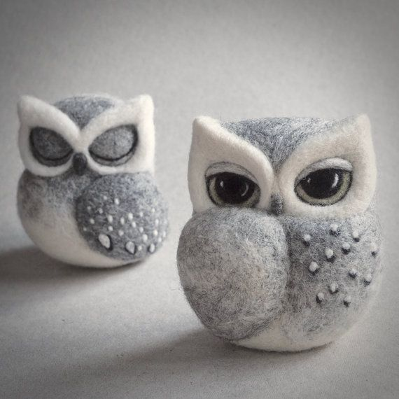 Needle felted owl sculpture. There are two owls available: sleeping and awake. Please choose from the drop down menu. Made from natural wool: grey, off white and black. Beautifully designed and carefully crafted, it takes several hours to finish one owl.  Size: approximately 7cm high (2.75 inches)  I POST ALL MY ITEMS BY SIGNED/TRACKED DELIVERY.  PLEASE READ THE POLICY INFORMATION BEFORE PURCHASING. MY CREATIONS ARE NOT TOYS, PLEASE KEEP OUT OF THE REACH OF CHILDREN. FOR USE AS A…