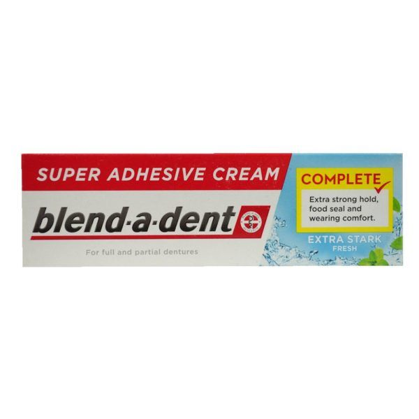 German blend-a-dent Super Denture Adhesive Cream Extra Stark FRESH (L.Blue) 47g