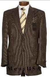SKU#201542 2 Button Mini Pindots Teakweave Nailhead Salt & Pepper Birdseye Patterned Texture Brown Business Suit Mens Discount Suits By Style and Quality 2 Button Suits    Price : US $159