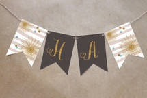 Minted Glitter Bling Party Decor  Bunting Banner