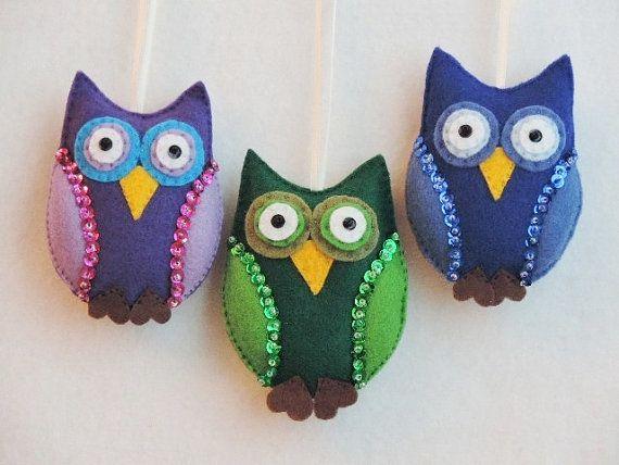 Owl Ornament Felt Bird Ornament Handmade Fall Decoration