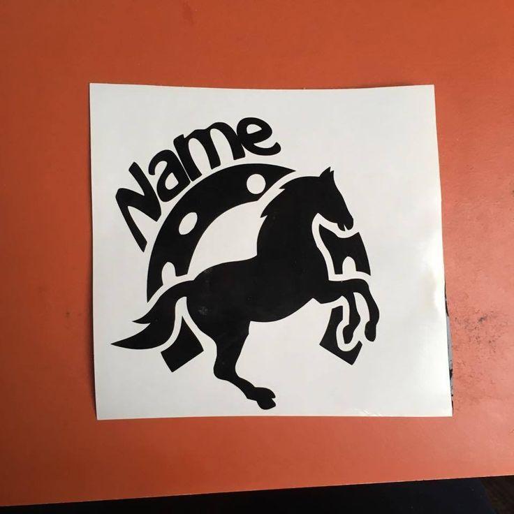Hufeisen/ Pferd mit Wunschname Tuning Aufkleber Sticker ca 25x27 cm