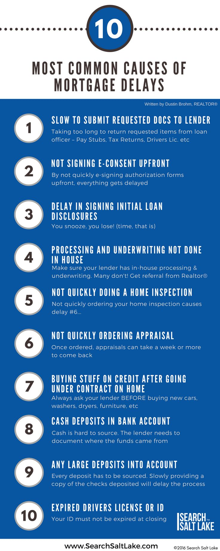 Top 10 Causes of Mortgage Delays | Make sure you know these before buying a home, to prevent any delays causing problems with your home purchase | Search Salt Lake