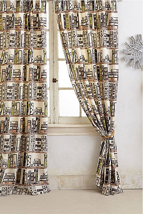 """Jacketed Spines Book Curtains in my library? I think, """"Yes, indeed."""" :-)"""