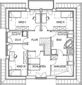 Stadtvilla Grundriss mit 92,53 m² Wohnfläche im Dachgeschoss
