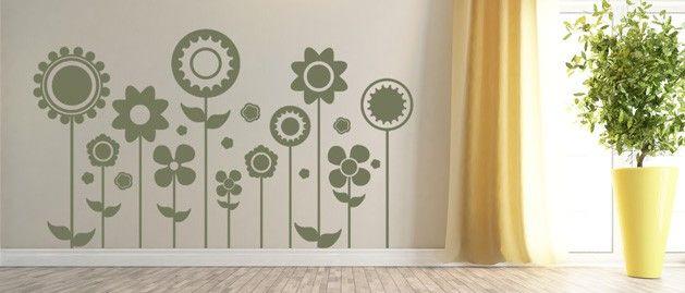Květiny designové (1291) / Samolepky na zeď, stěnu a nábytek