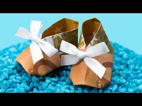 Geldgeschenk zur GEBURT oder Taufe, Babyschuh falten/basteln Anleitung - YouTube