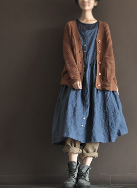 Sleeveless Blue Long  Dress  Loose Cotton  Dress por clothingshow, $62,00