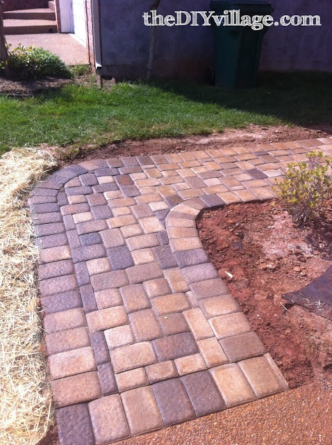 DIY Paver Path - as garden border & walkway all the way through the side yard to the backyard! these colors would complement our house