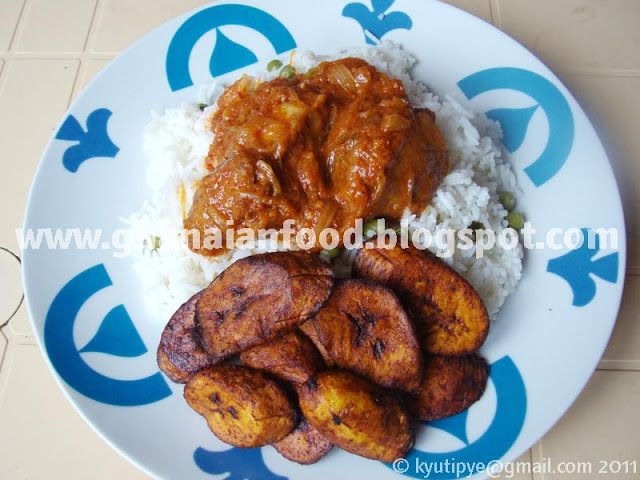 Ghanaian Food: Chicken Stew with Rice and Plantain