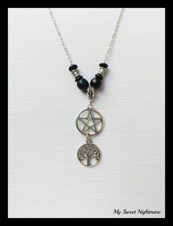 Collana pentacolo pentagramma albero della vita wiccan