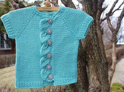 Hand knit baby sweater. Tiffany box inspired.