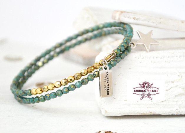 Armbänder - Perlen-Armband filigran, zierlich türkis gold - ein Designerstück von AT-Schmuck bei DaWanda