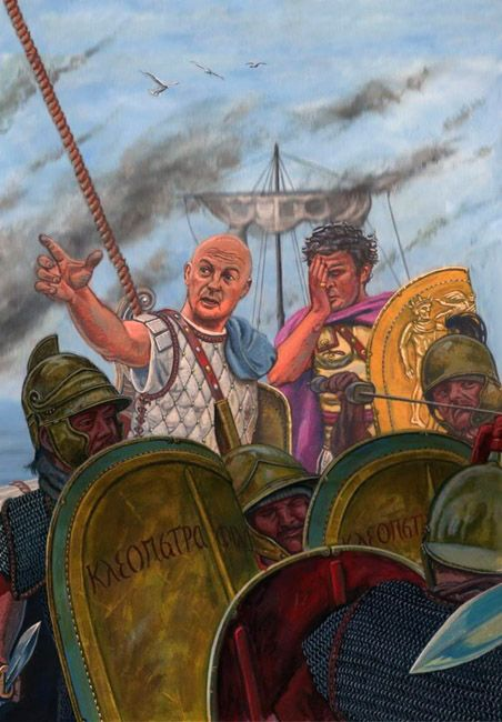 """The battle of Actium: At the height of the battle, a Roman-Egyptian centurion informs Marc Antony that Cleopatra and her squadron of ships are leaving the action"""