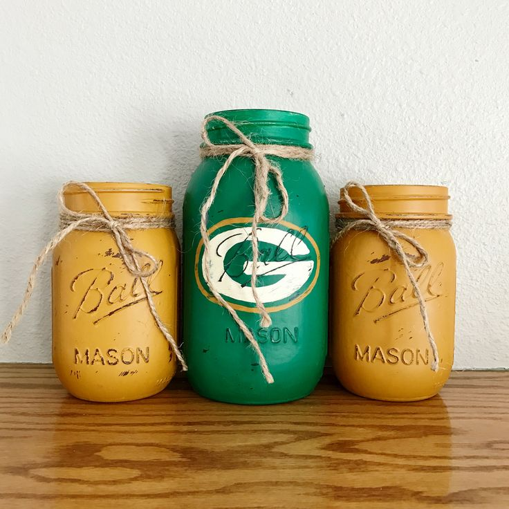 Green Bay Packers Mason jar set | rustic home decor