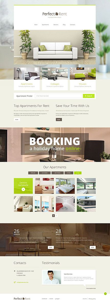 apartments rental website wordpress template themes business responsive - Apartment Website Design