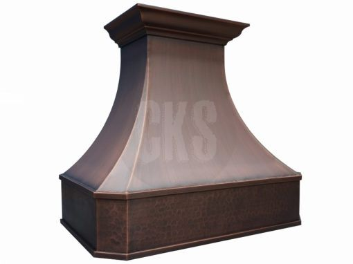 Our classic copper range hood design featuring a Federal style top crown with minimalist apron moulding and clipped corners. Order your Venetian Copper Hood now.