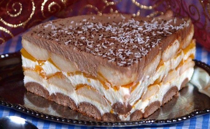 Nepečený broskvový dort